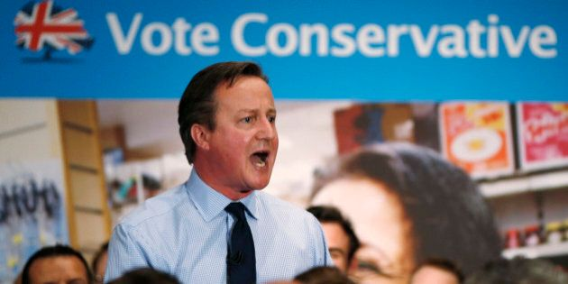 Britain's Prime Minister and leader of the Conservative Party, David Cameron, gives a speech during his...
