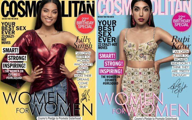Canada's Lilly Singh, left, and Rupi Kaur, right, grace the cover of Cosmo India's 22nd anniversary issue.