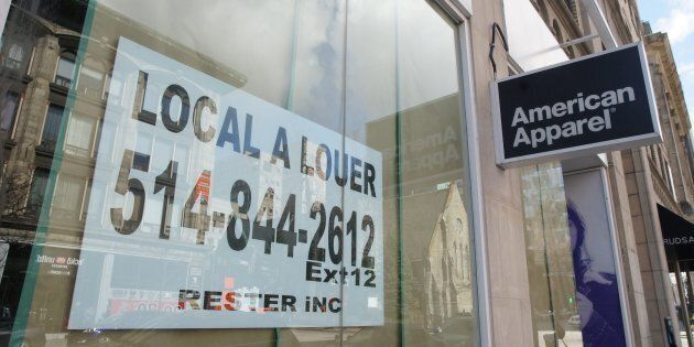 A for-rent sign in the store front window of the American Apparel store in downtown Montreal, Que. on...