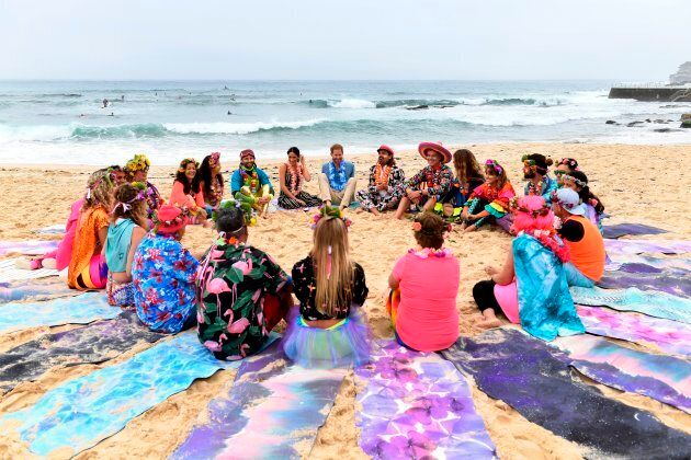 Harry and Meghan join members of OneWave, a local surfing community group who raise awareness for mental...