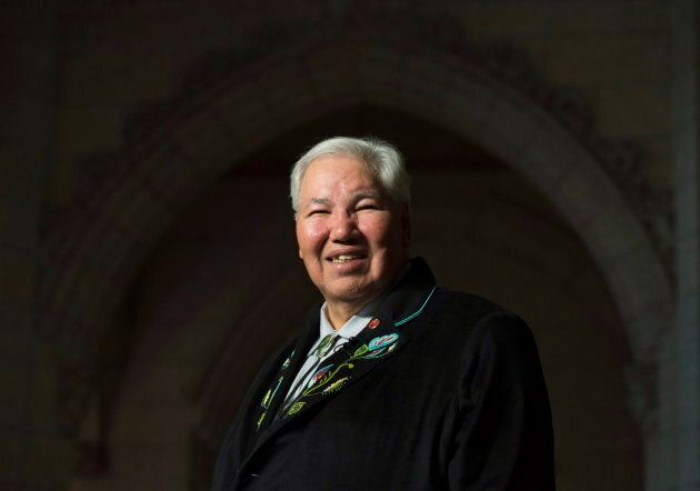 Sen. Murray Sinclair stands in the foyer of the House of Commons on April 12,