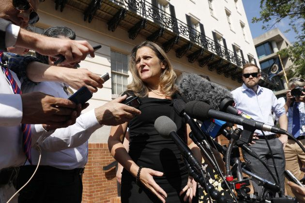 Chrystia Freeland, Canada's minister of foreign affairs, speaks outside the U.S. Trade Representative...