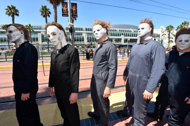 """People dressed as Michael Myers from the """"Halloween"""" films at the 2014 Comic-Con International Convention in San Diego."""