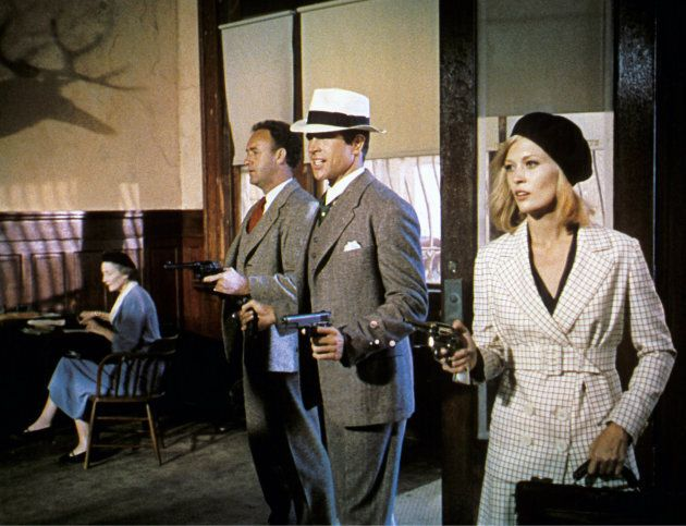 """Gene Hackman, Warren Beatty, and Faye Dunaway on the set of """"Bonnie and Clyde,"""" directed by Arthur Penn."""