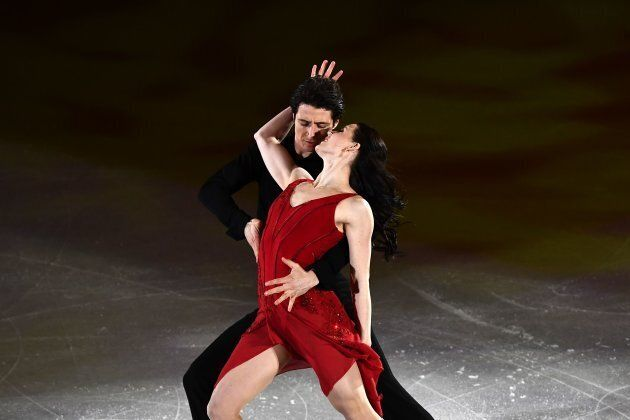 Tessa Virtue and Canada's Scott Moir perform during the figure skating gala event at the Pyeongchang...