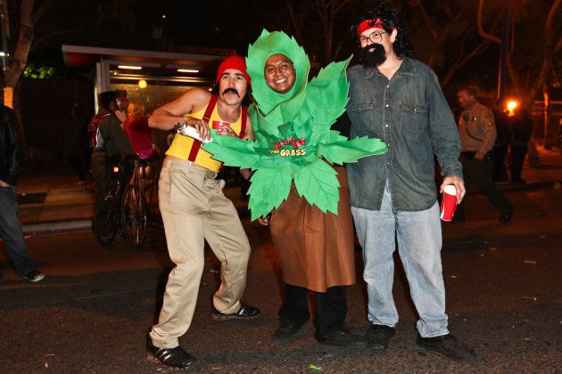 Partygoers at the West Hollywood Halloween Costume Carnival on October 31, 2011 in West Hollywood,