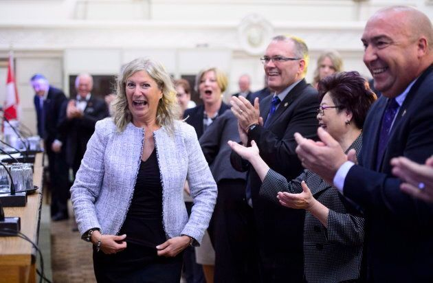 New Conservative MP Leona Alleslev is welcomed during the Tory caucus meeting on Parliament Hill on Sept....