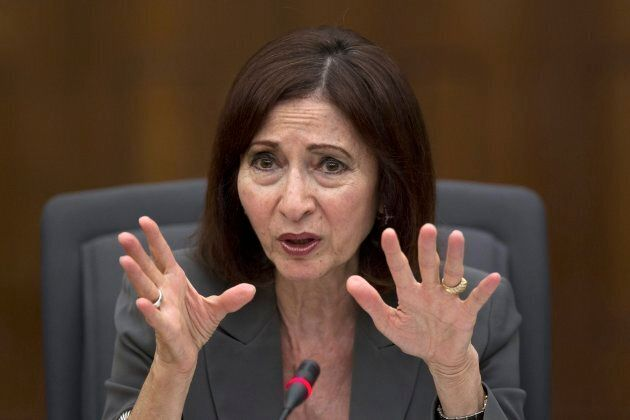 Then-privacy commissioner Ann Cavoukian gestures during questioning at a legislative committee probing...