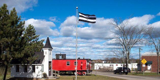 A flag celebrating