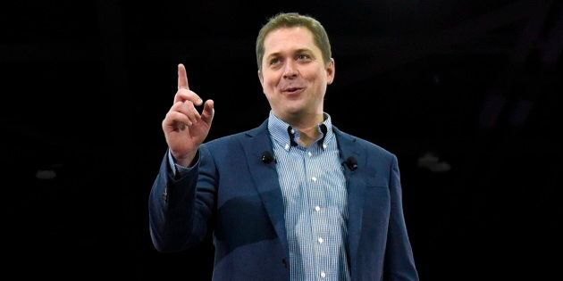 Conservative leader Andrew Scheer speaks to supporters at a pre-election event at the Shaw Centre in...