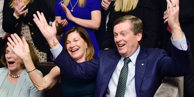 John Tory and his wife Barbara Hackett celebrate the victory in Toronto on Oct. 22,