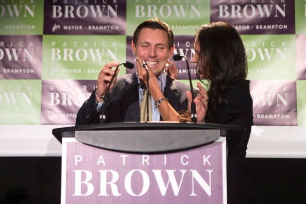Brampton Mayor Patrick Brown with his wife Genevieve Gualtieri after winning the Brampton Mayoral Election...