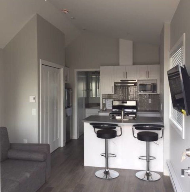 A view of the interior of one of the tiny homes for veterans.