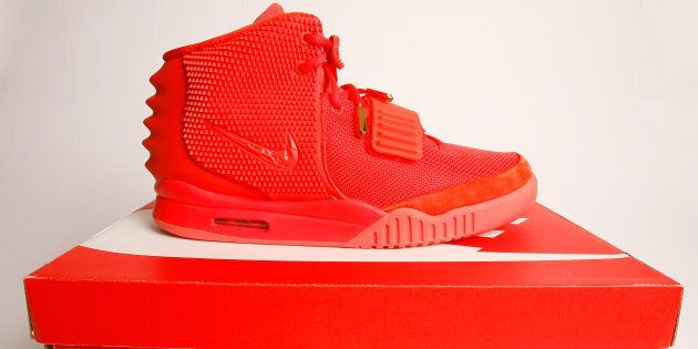 A detailed view of the Nike Air Yeezy 2 'Red October' sneaker on Feb. 27, 2014 in New York City. Originally...