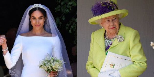 Meghan Markle, left, and Queen Elizabeth, right, on Markle's wedding day, May 19, 2018, in Windsor,