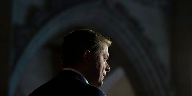 Conservative Leader Andrew Scheer is seen in the foyer of the House of Commons on Oct. 23,