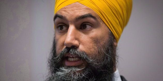 NDP Leader Jagmeet Singh speaks to caucus members in Surrey, B.C., on Sept. 12,