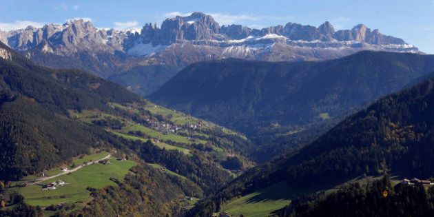 The Rosengarten mountain massif (3,000 meters) in the Dolomites near Bozen, Autonomous Region of South...