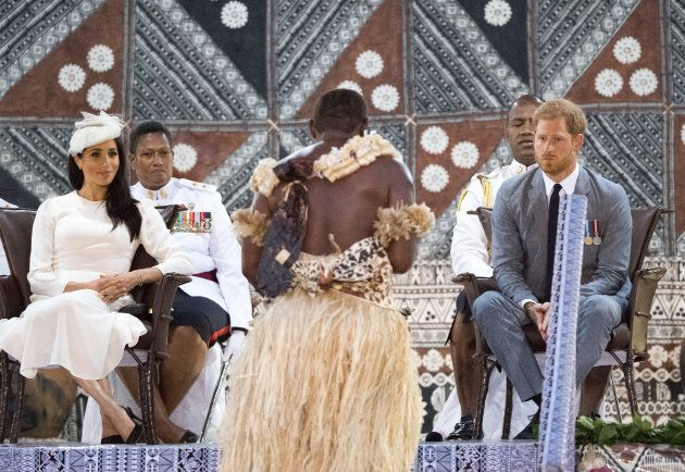 Meghan and Harry attend an official welcome ceremony in Suva.