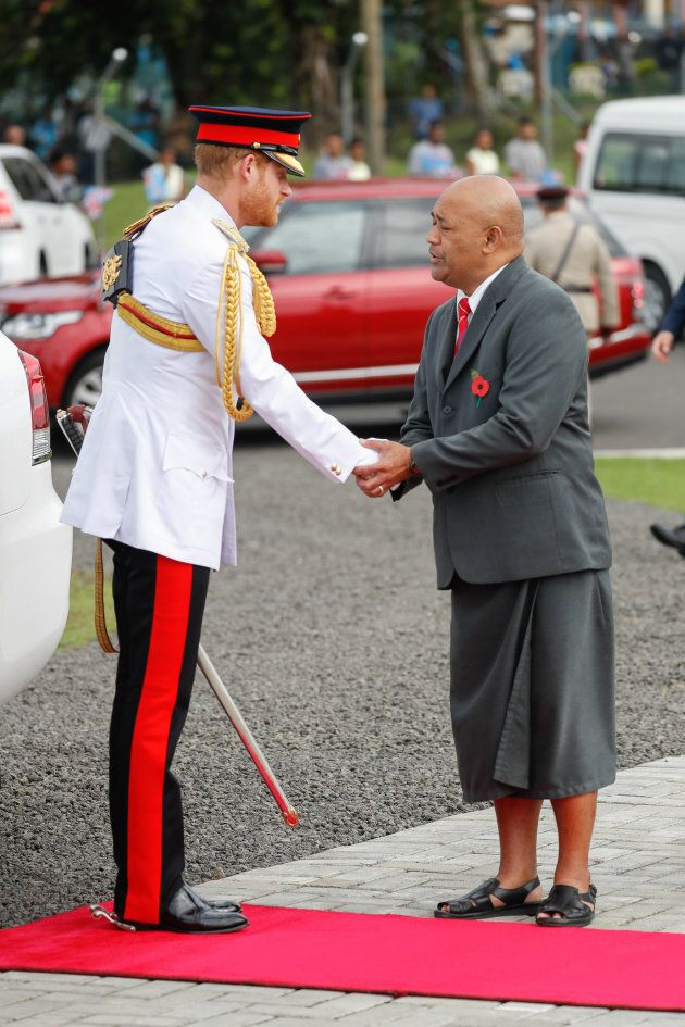 Prince Harry attends the War Memorial Wreath Laying on Wednesday in Suva,