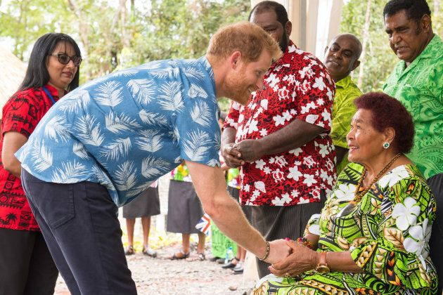 Prince Harry greets Litiana Vulaca.