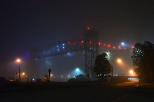 The Sault Ste. Marie International Bridge at night.