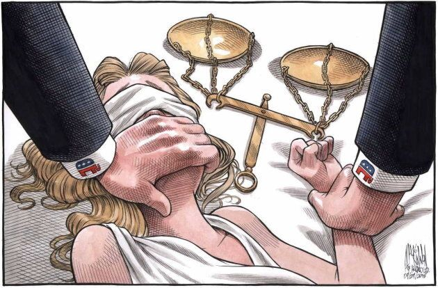 A cartoon depicting the assault of Lady Justice went viral in the wake of recent allegations against Supreme Court justice Brett Kavanaugh.