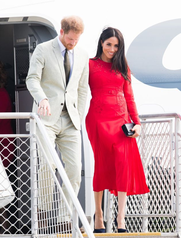 The Duke and Duchess of Sussex arrive at Nuku'alofa airport in Tonga.