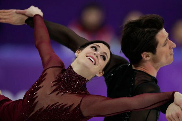 Tessa Virtue and Scott Moir perform during the figure skating final in the Gangneung Ice Arena at the...
