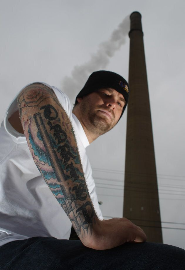 Third-generation miner, Mickey O'Brien has the Superstack and the Copper Cliff smelter tattooed on his forearm.