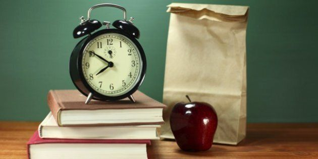 Back to School Books, Lunch, Apple and Clock on