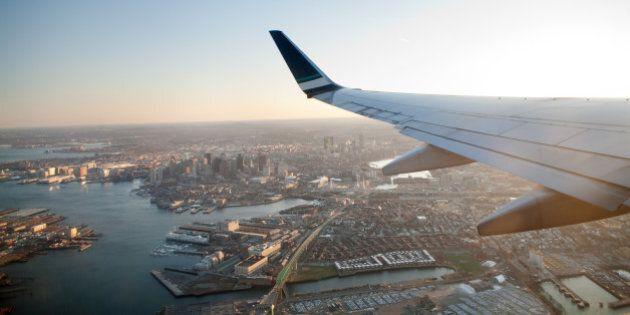 flying over Boston