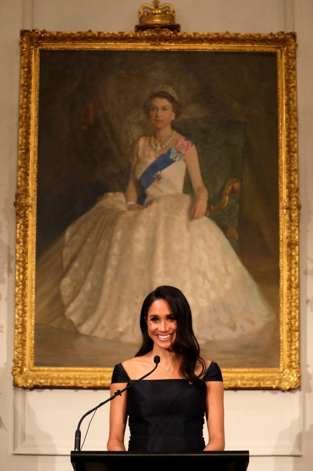 Meghan Markle addresses a reception celebrating the 125th anniversary of women's suffrage in New Zealand at Government House in Wellington on Sunday.