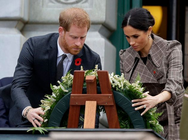 Harry and Meghan at Pukeahu National War Memorial Park on Sunday.