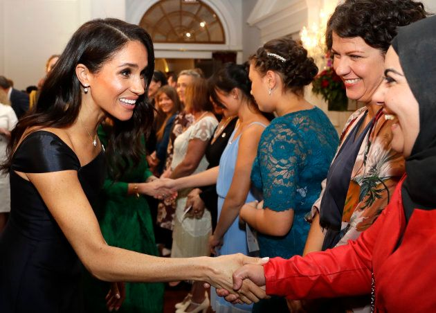 Meghan meets guests at the celebration of the 125th anniversary of women's suffrage in Wellington on Sunday.
