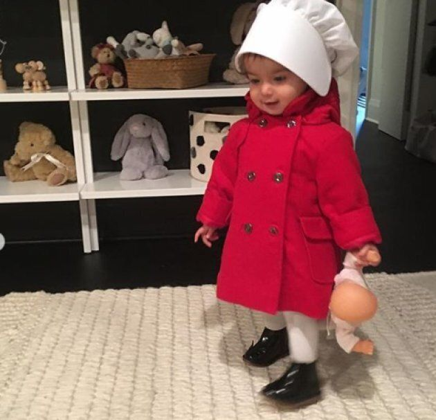 Madeleine Kassam, 18 months, in a costume made by her