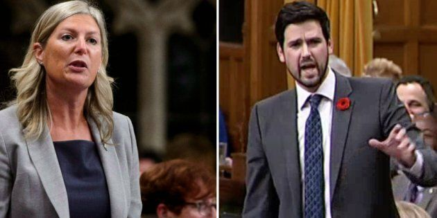 Conservative MP Leona Alleslev and Liberal MP Sean Fraser are shown in a composite