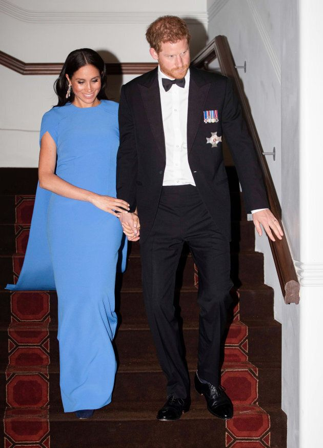 Prince Harry and Meghan Markle attend a state dinner hosted by the president of Fiji, Jioji Konrote,...