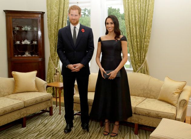 Prince Harry and Meghan Markle attend a reception at Government House on Oct. 28, 2018 in Wellington,...