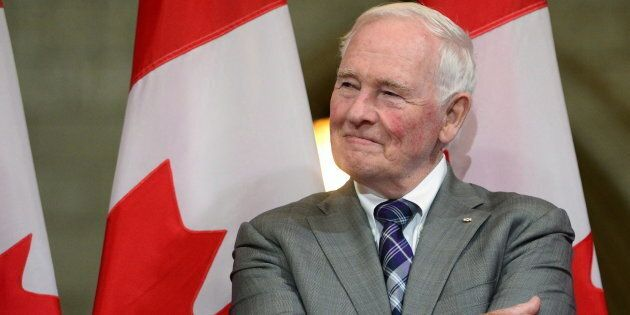 Former Governor General David Johnston looks on during a a farewell reception in Ottawa on Sept. 28,