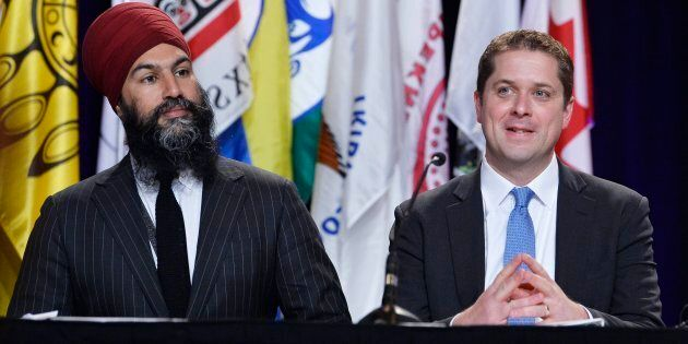 NDP Leader Jagmeet Singh and Conservative Leader Andrew Scheer are shown at the AFN Special Chiefs Assembly...