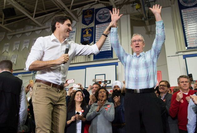 Prime Minister Justin Trudeau and South Surrey-White Rock Liberal byelection candidate Gordie Hogg are shown at a rally in Surrey, B.C., on Dec. 2, 2017. Hogg would go on to win the seat.