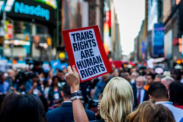 Protests took place in New York after a series of tweets by President Donald Trump, which proposed to ban transgender people from military service.
