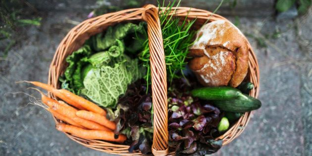 Freshly harvested vegetable and food in a vintage