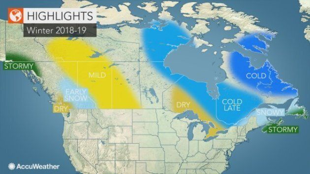 Eastern Canadians can expect lots of snow this winter, while Westerners will experience a bit of a drought, says Accuweather.