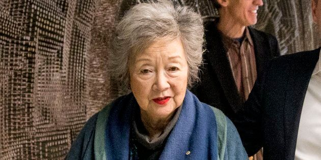 Former Governor General of Canada Adrienne Clarkson leaves a Jan. 25, 2018 press conference.