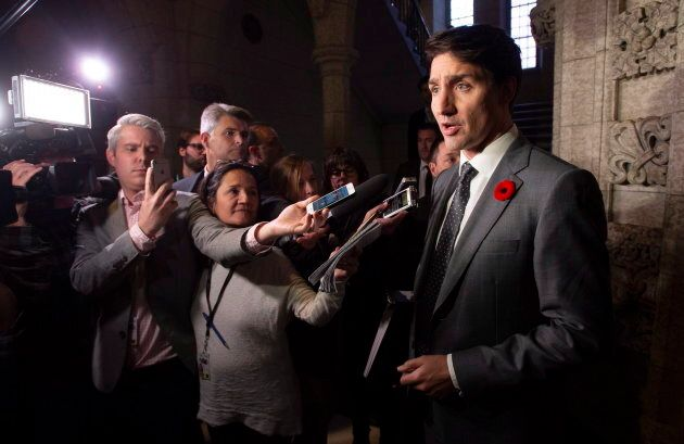 Prime Minister Justin Trudeau speaks with media before Question Period in the House of Commons on Oct. 31, 2018 in Ottawa.