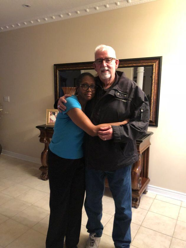 Lyneth Mann-Lewis is pictured with Ted Davis, a retired officer who worked on the case of her son's disapperance...