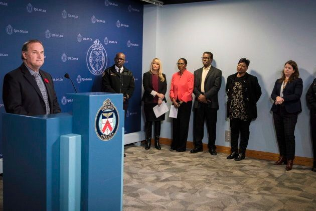 Missing Children Society of Canada CEO Amanda Pick, third from left, stands next to Lyneth Mann-Lewis...