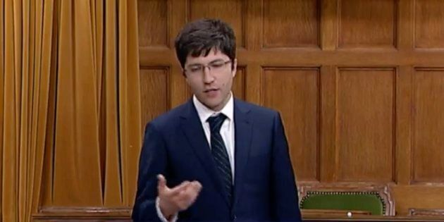 Conservative MP Garnett Genuis speaks in the House of Commons on Oct. 29,